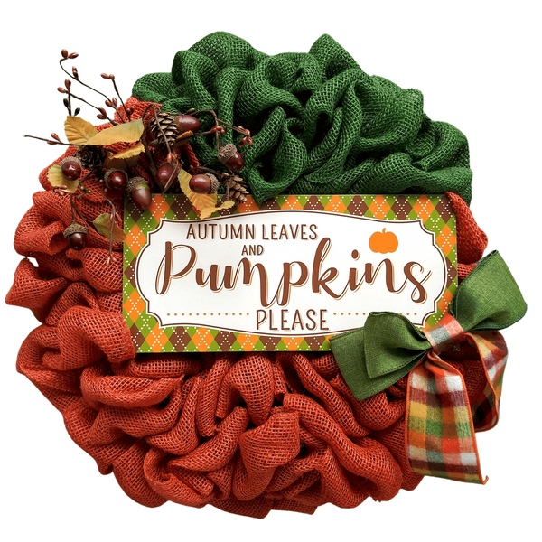 BURLAP PUMPKIN WREATH WITH SIGN