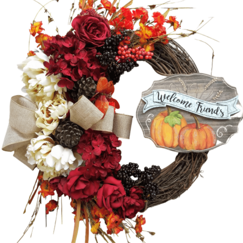 FALL FLORAL GRAPEVINE WREATH