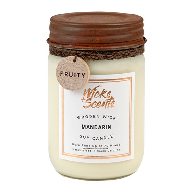 MANDARIN WOODEN WICK CANDLE (8 OZ AND 12 OZ SIZES)
