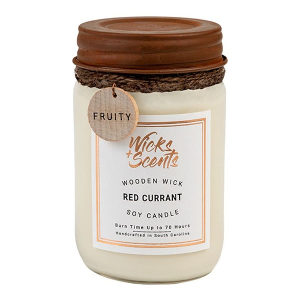 RED CURRANT WOODEN WICK CANDLE (8 OZ AND 12 OZ SIZES)