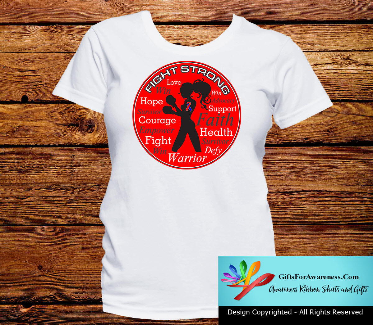 Congenital Heart Defects Fight Strong Motto T-Shirts - GiftsForAwareness