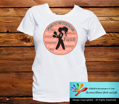 Endometrial Cancer Fight Strong Motto T-Shirts - GiftsForAwareness