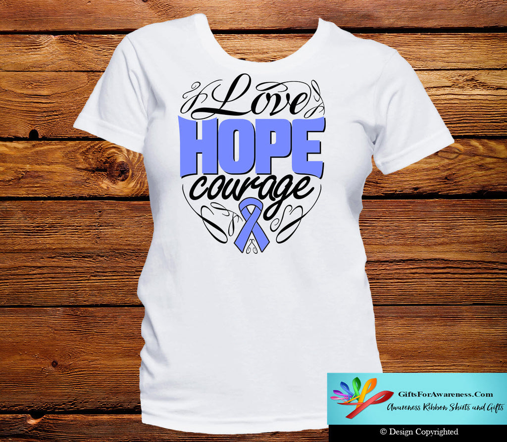Esophageal Cancer Love Hope Courage Shirts