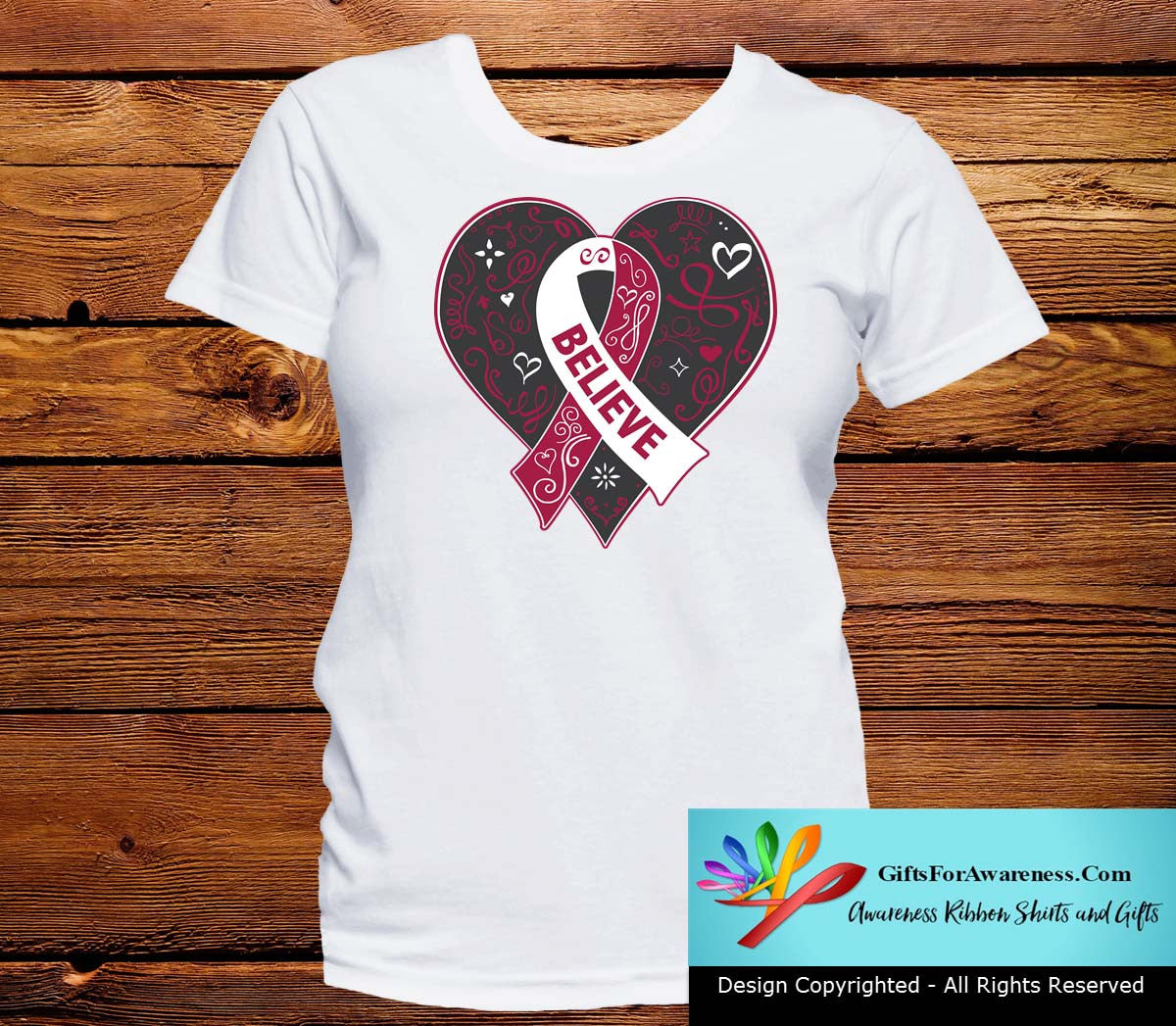 Head and Neck Cancer Believe Heart Ribbon Shirts - GiftsForAwareness