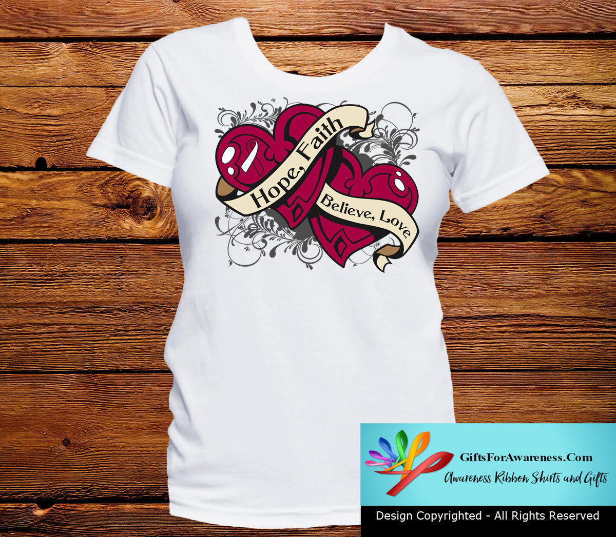 Head Neck Cancer Hope Believe Faith Love Shirts - GiftsForAwareness