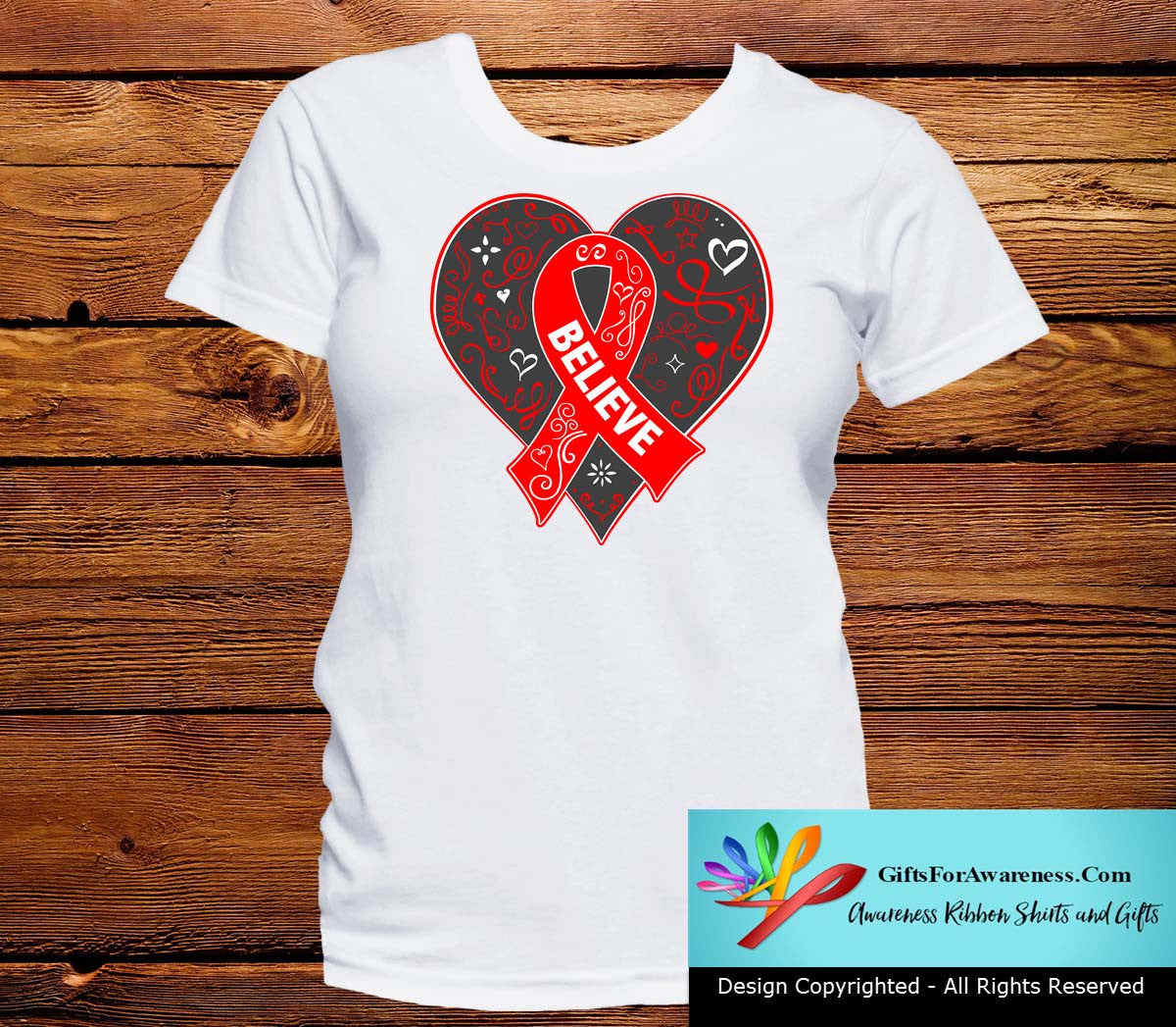 Heart Disease Believe Heart Ribbon Shirts - GiftsForAwareness