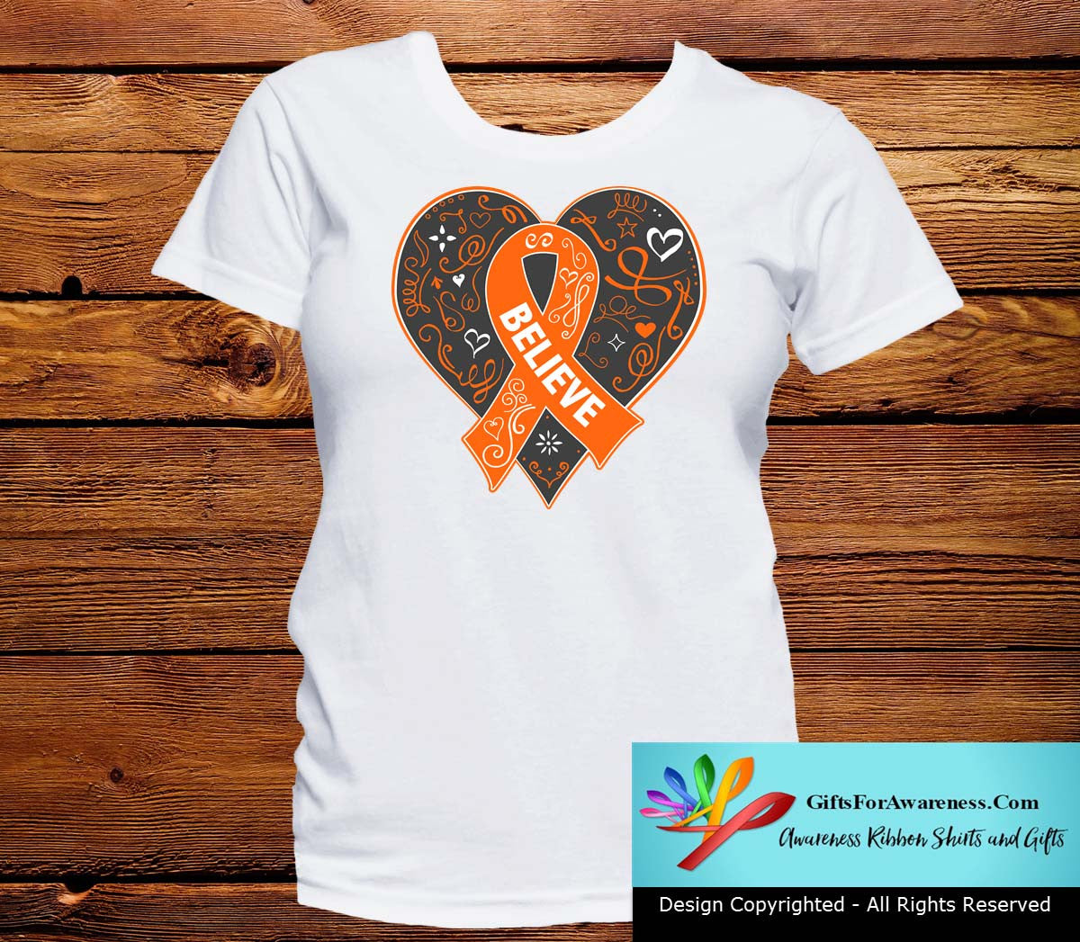 Kidney Cancer Believe Heart Ribbon Shirts - GiftsForAwareness