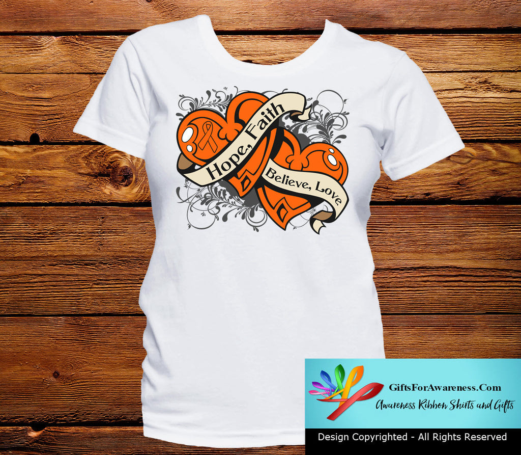 Kidney Cancer Hope Believe Faith Love Shirts