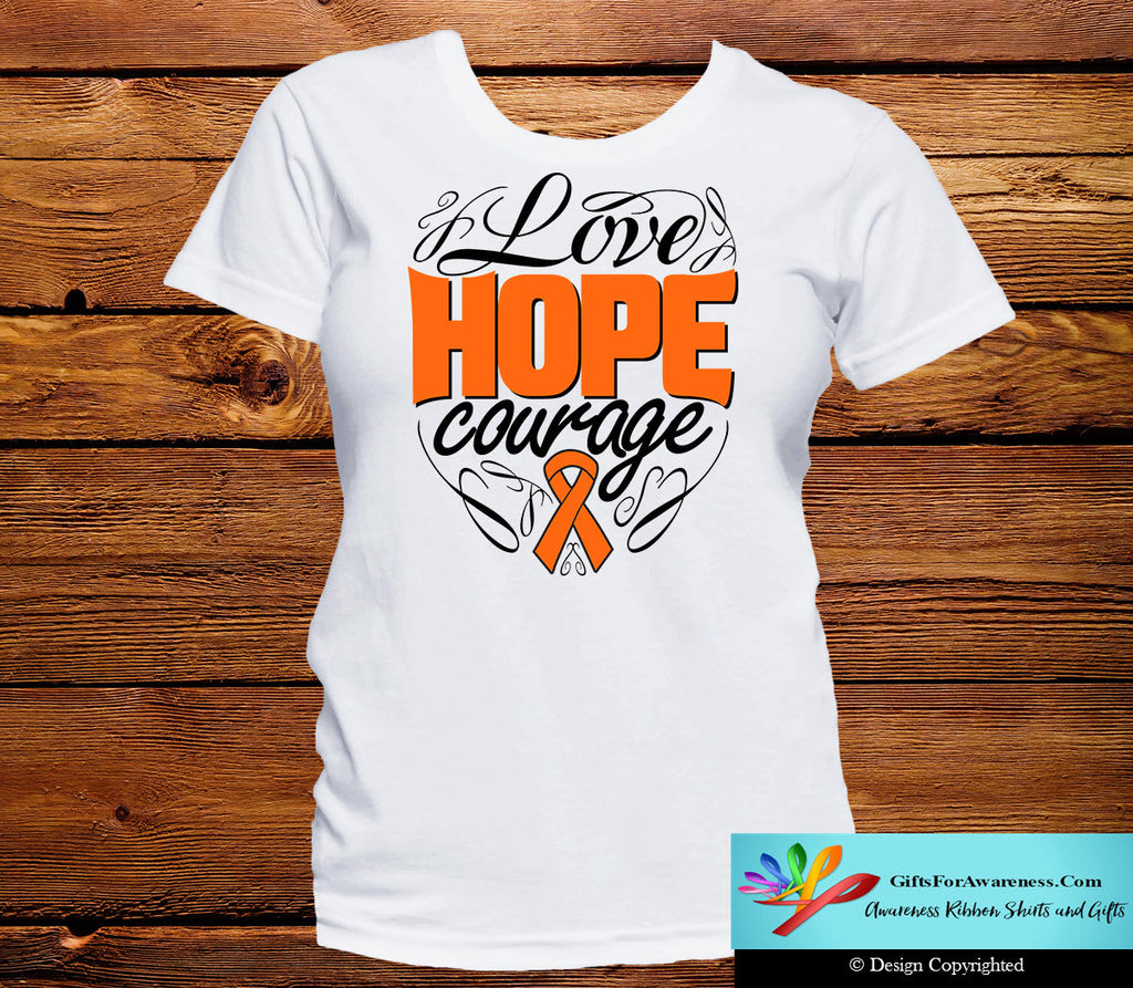 Kidney Cancer Love Hope Courage Shirts
