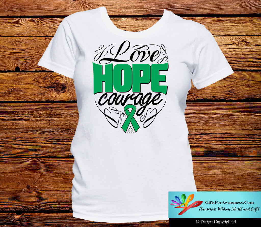 Liver Cancer Love Hope Courage Shirts
