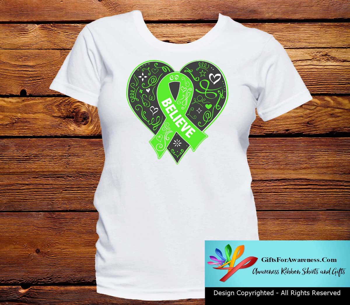Lymphoma Believe Heart Ribbon Shirts - GiftsForAwareness