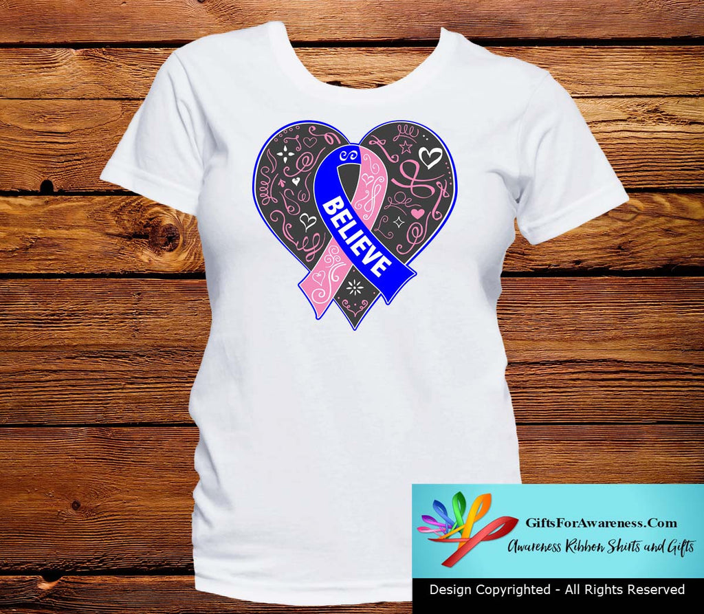 Male Breast Cancer Believe Heart Ribbon Shirts