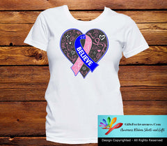 Male Breast Cancer Believe Heart Ribbon Shirts - GiftsForAwareness
