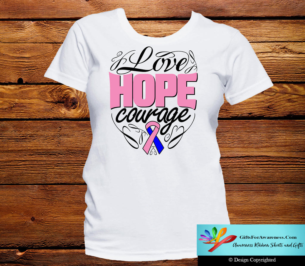 Male Breast Cancer Love Hope Courage Shirts