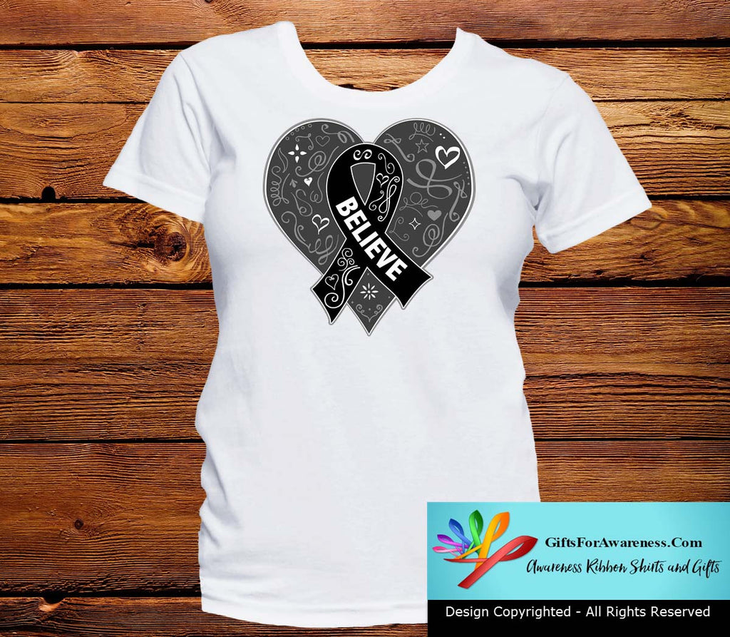 Melanoma Believe Heart Ribbon Shirts