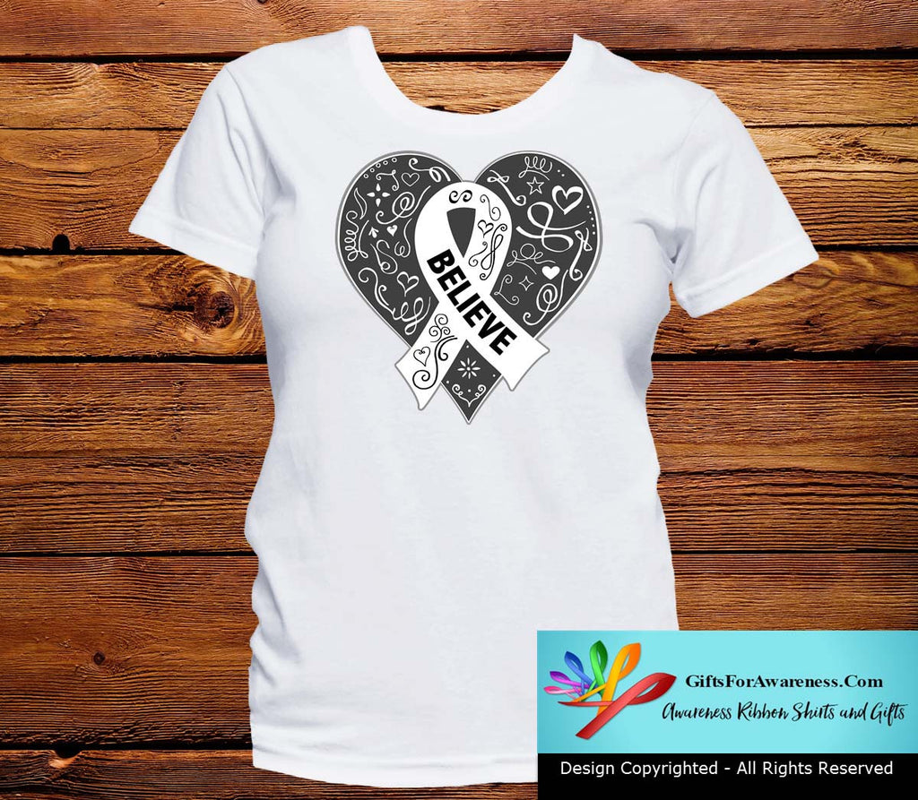 Mesothelioma Believe Heart Ribbon Shirts