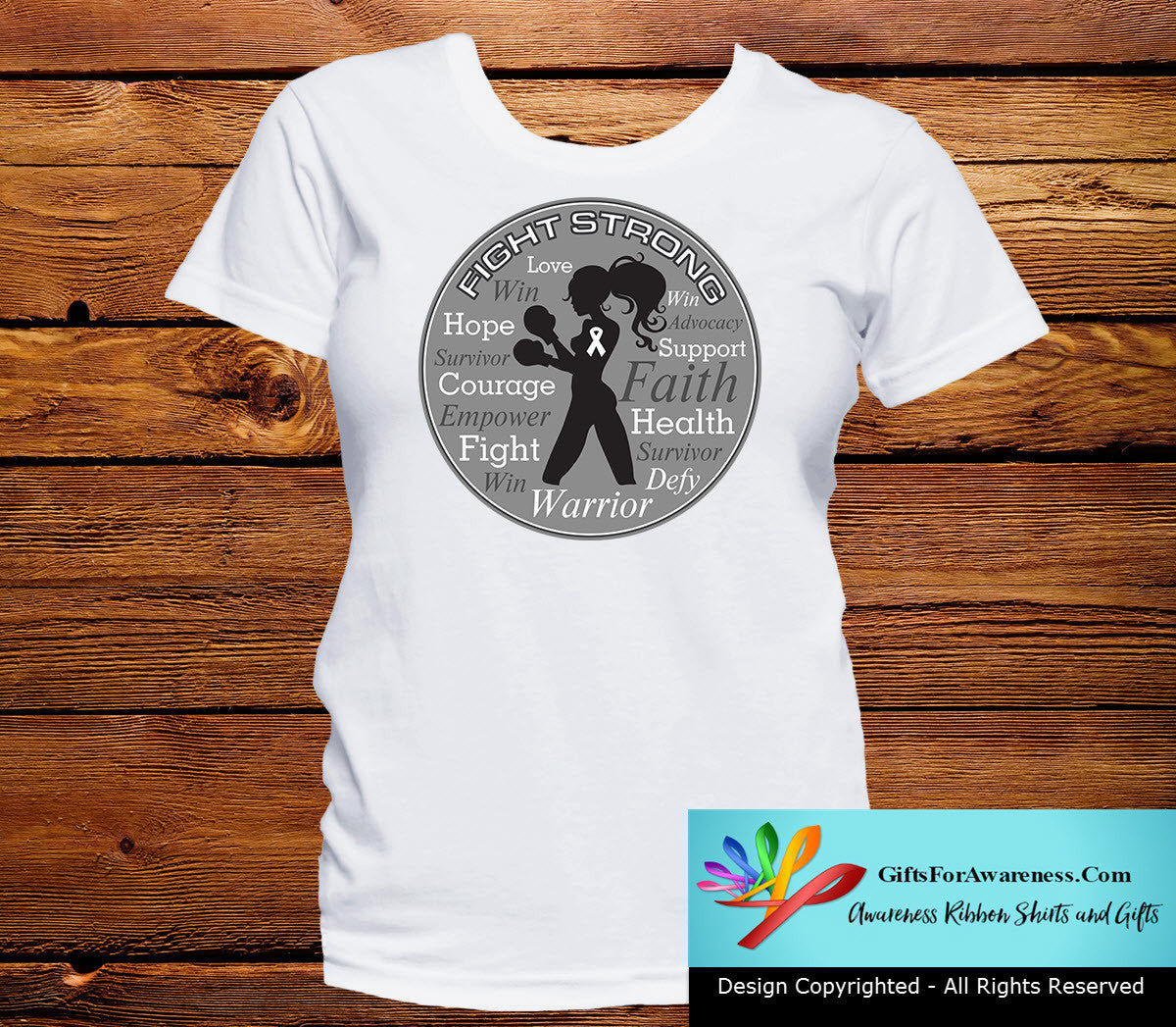 Mesothelioma Fight Strong Motto T-Shirts - GiftsForAwareness