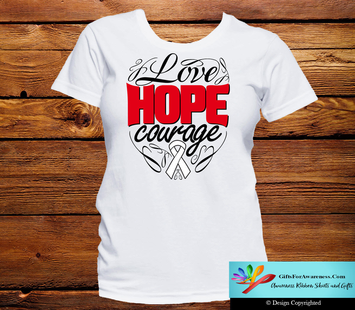 Mesothelioma Love Hope Courage Shirts - GiftsForAwareness