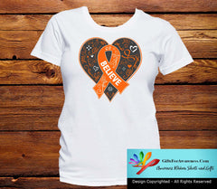 Multiple Sclerosis Believe Heart Ribbon Shirts - GiftsForAwareness