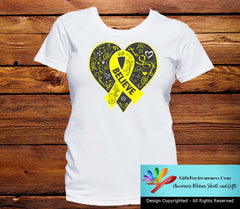Osteosarcoma Believe Heart Ribbon Shirts