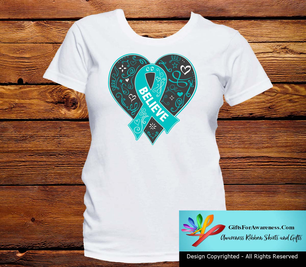 Ovarian Cancer Believe Heart Ribbon Shirts
