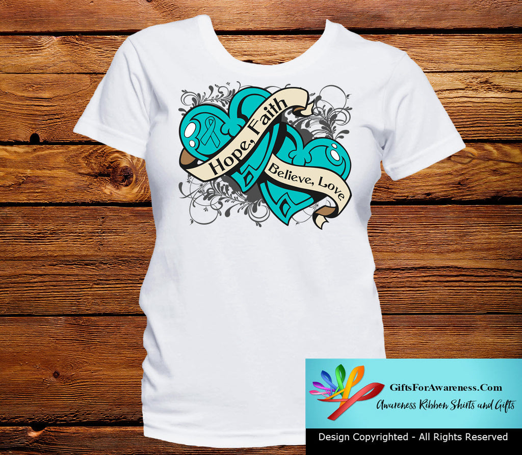 Ovarian Cancer Hope Believe Faith Love Shirts