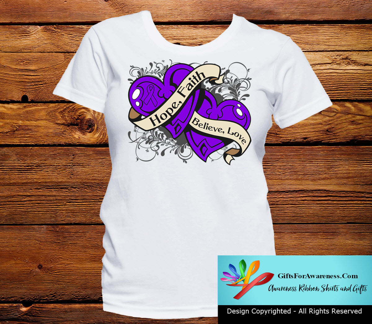 Pancreatic Cancer Hope Believe Faith Love Shirts - GiftsForAwareness