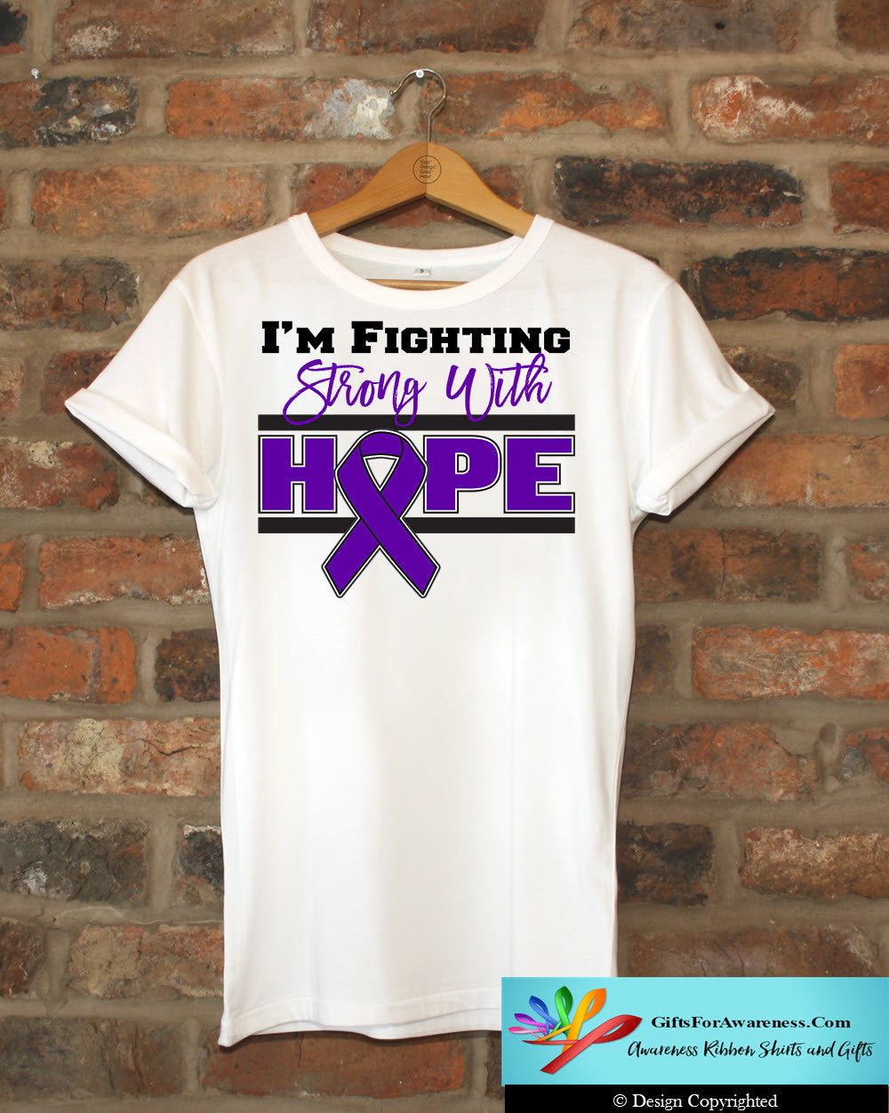 Pancreatic Cancer I'm Fighting Strong With Hope Shirts - GiftsForAwareness