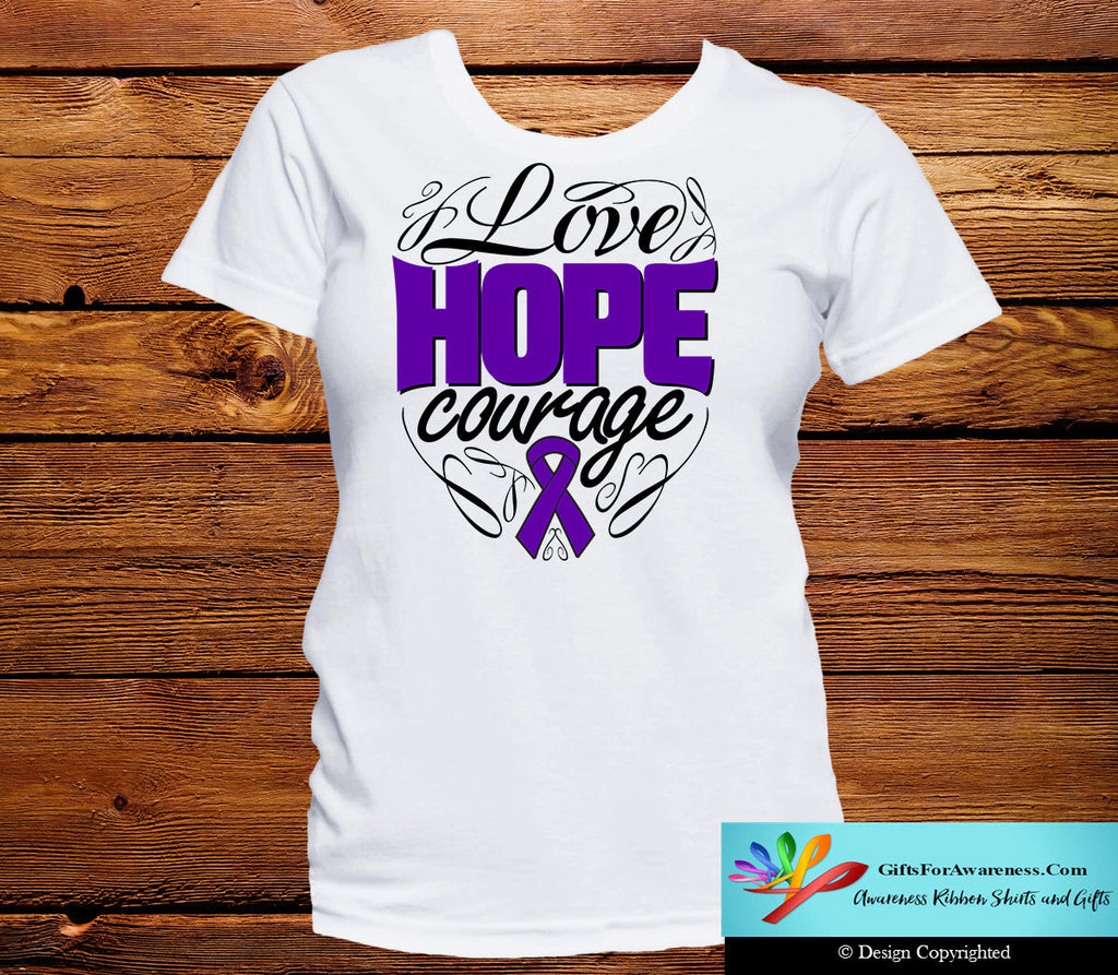 Pancreatic Cancer Love Hope Courage Shirts