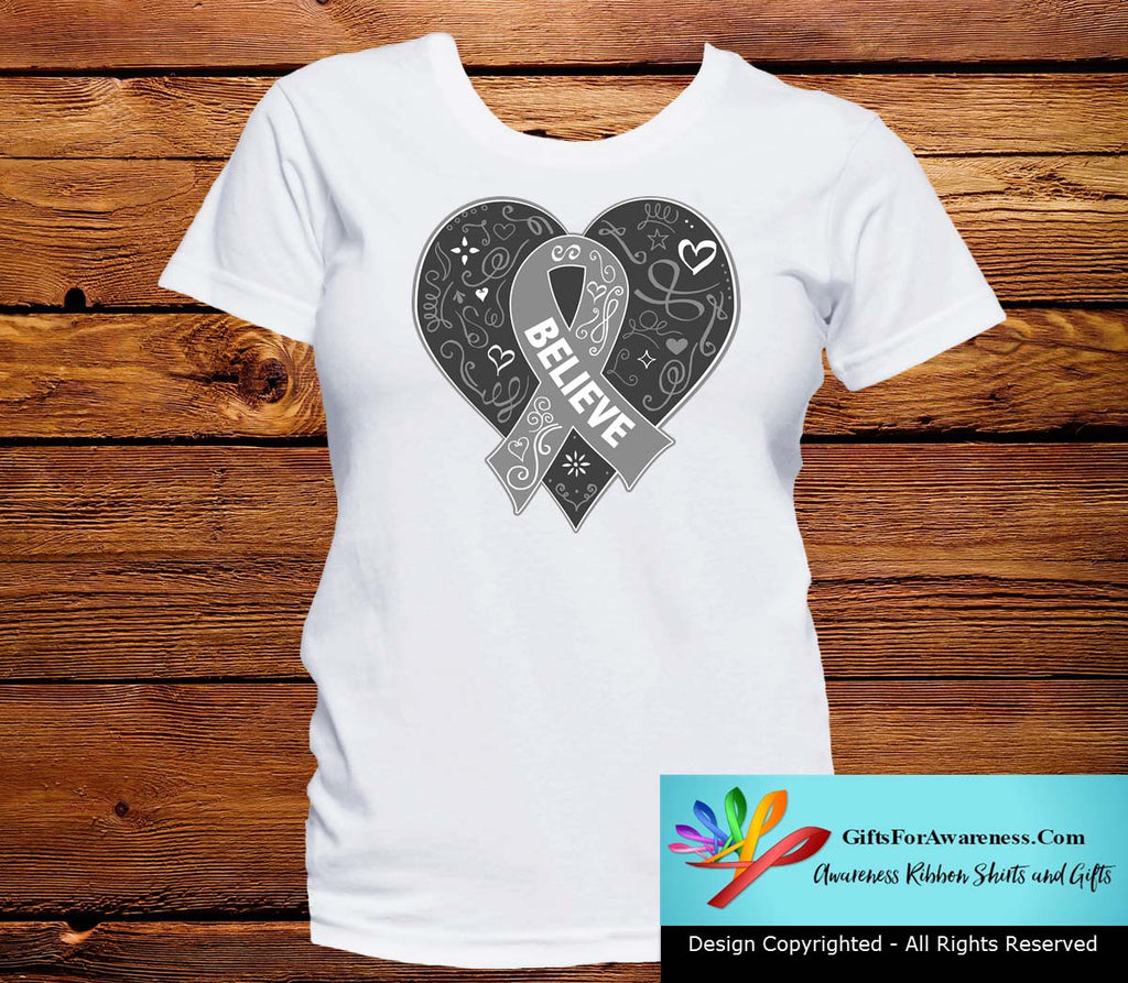 Parkinson's Disease Believe Heart Ribbon Shirts