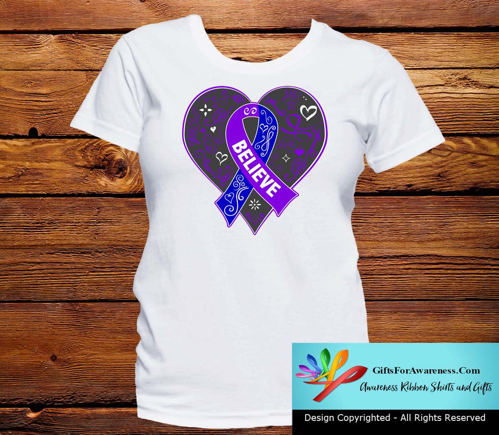 Pediatric Stroke Believe Heart Ribbon Shirts