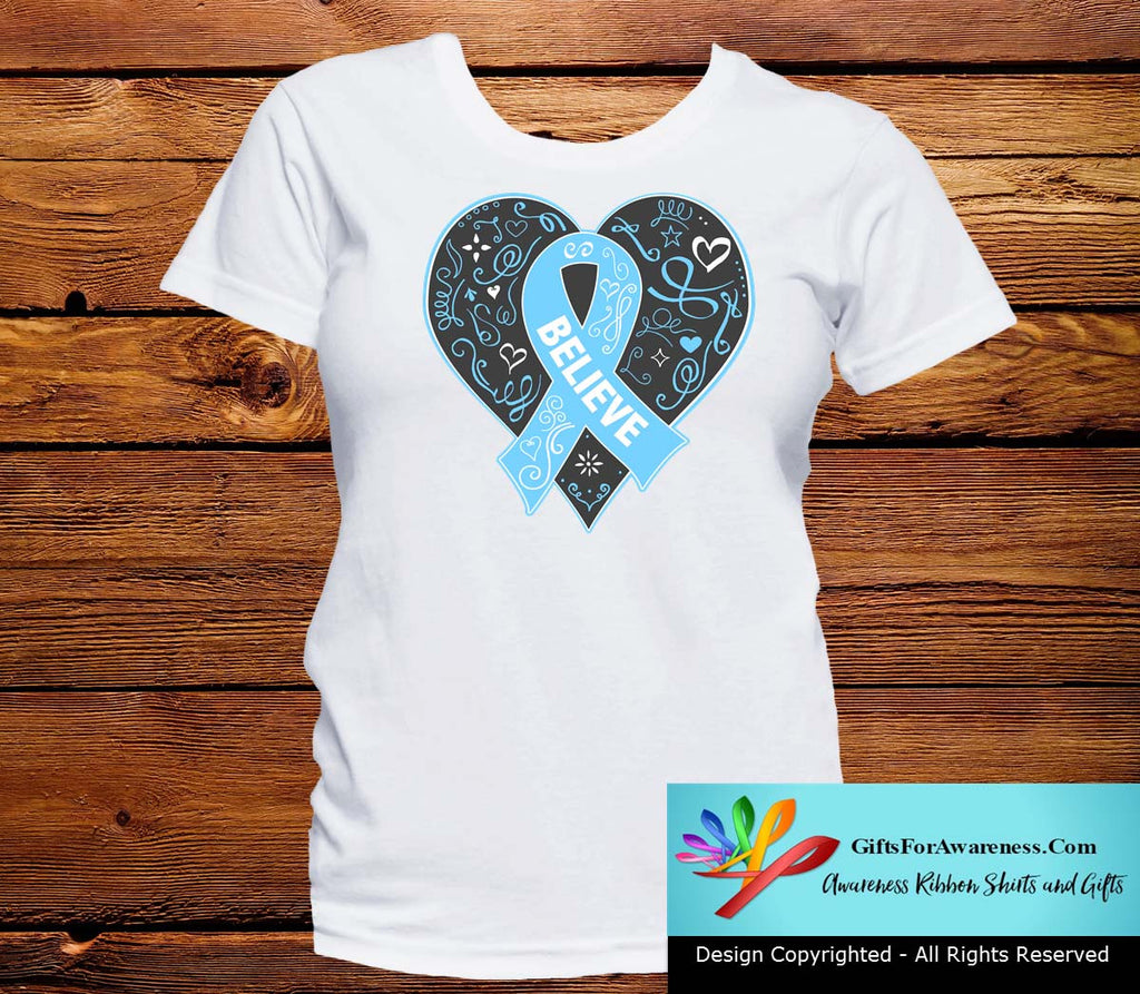 Prostate Cancer Believe Heart Ribbon Shirts