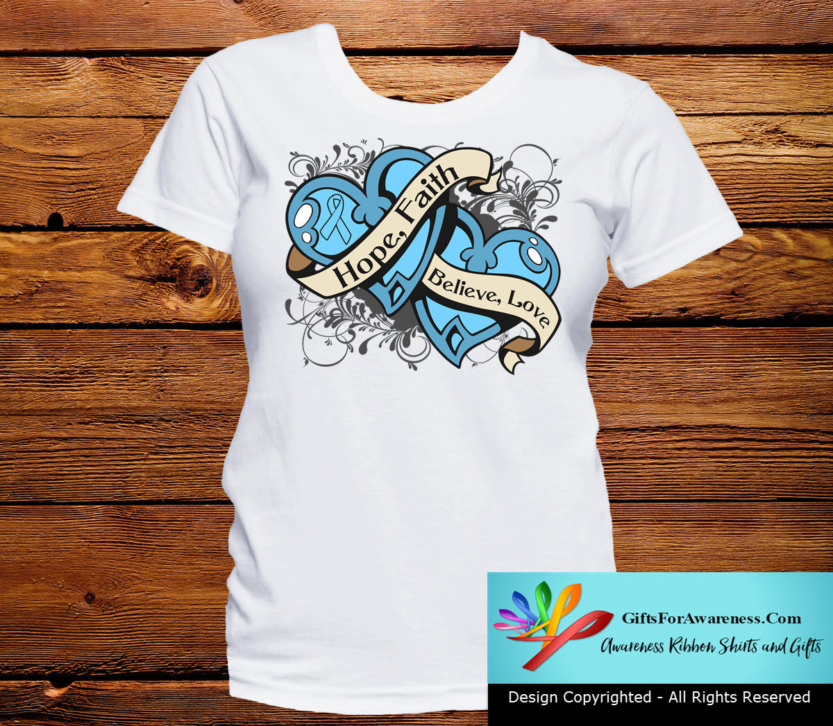 Prostate Cancer Hope Believe Faith Love Shirts - GiftsForAwareness