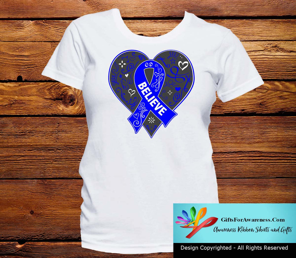 Rectal Cancer Believe Heart Ribbon Shirts