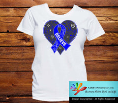 Rectal Cancer Believe Heart Ribbon Shirts - GiftsForAwareness