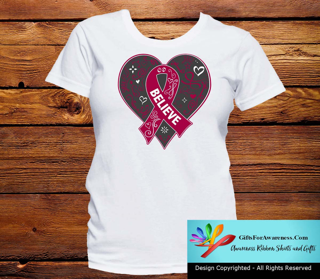 Sickle Cell Anemia Believe Heart Ribbon Shirts
