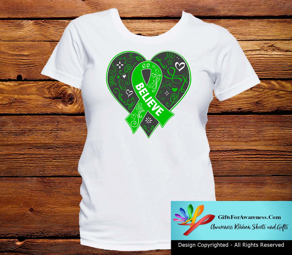 Spinal Cord Injury Believe Heart Ribbon Shirts - GiftsForAwareness