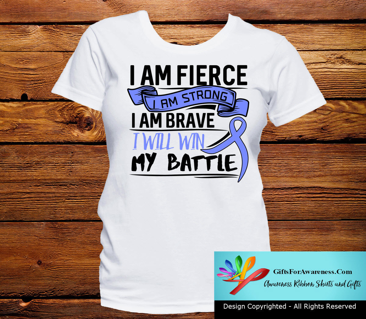 Stomach Cancer I Am Fierce Strong and Brave Shirts - GiftsForAwareness