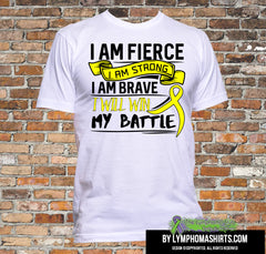 Testicular Cancer I Am Fierce Strong and Brave Shirts - GiftsForAwareness