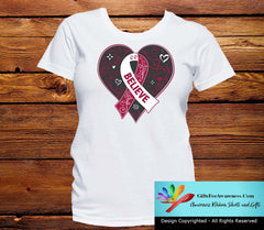 Throat Cancer Believe Heart Ribbon Shirts - GiftsForAwareness
