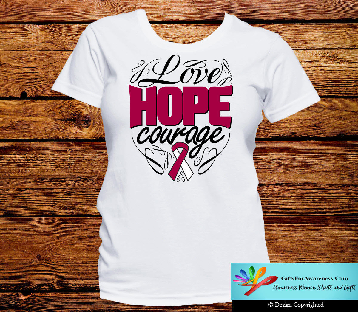 Throat Cancer Love Hope Courage Shirts - GiftsForAwareness