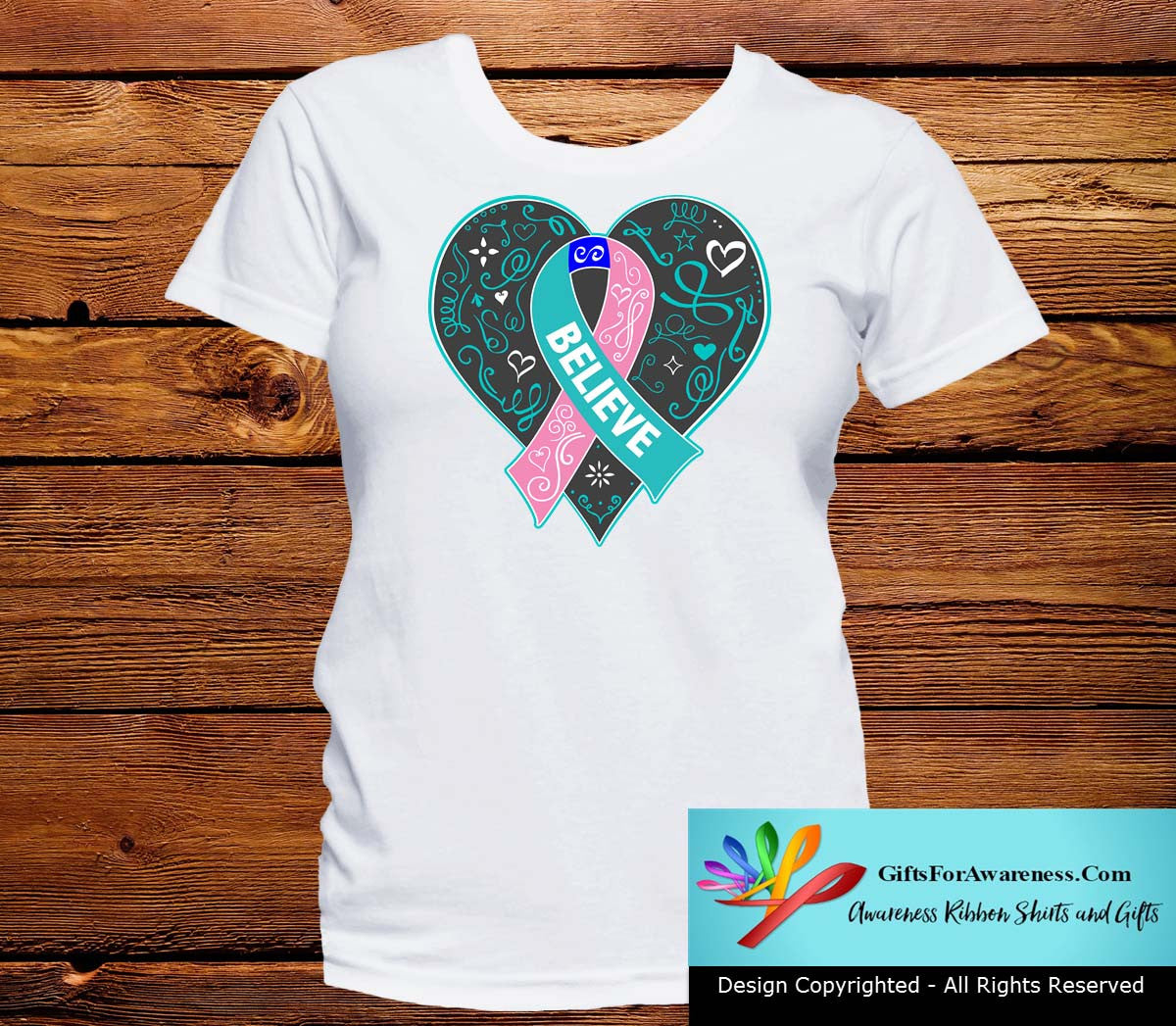 Thyroid Cancer Believe Heart Ribbon Shirts