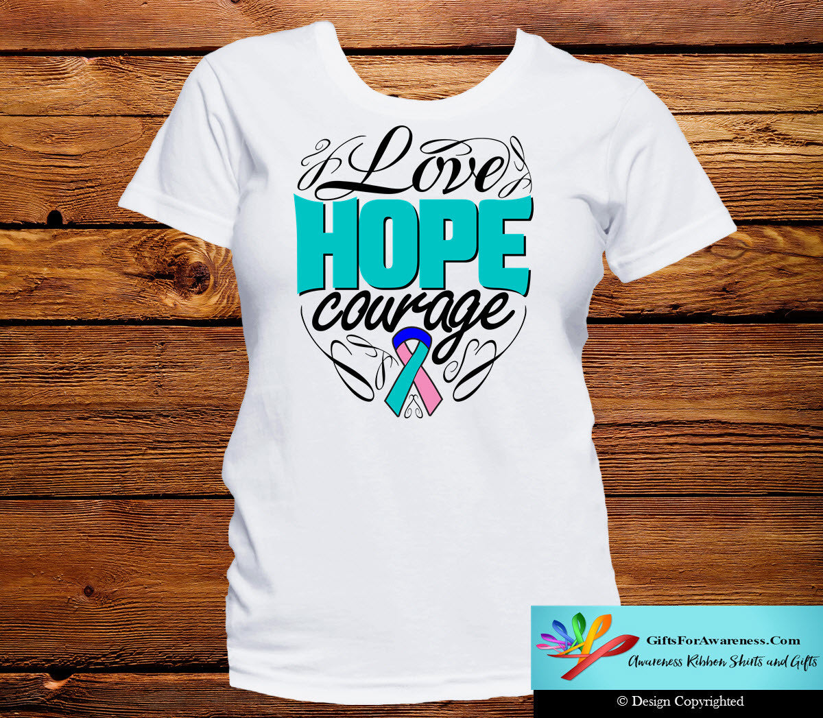 Thyroid Cancer Love Hope Courage Shirts - GiftsForAwareness
