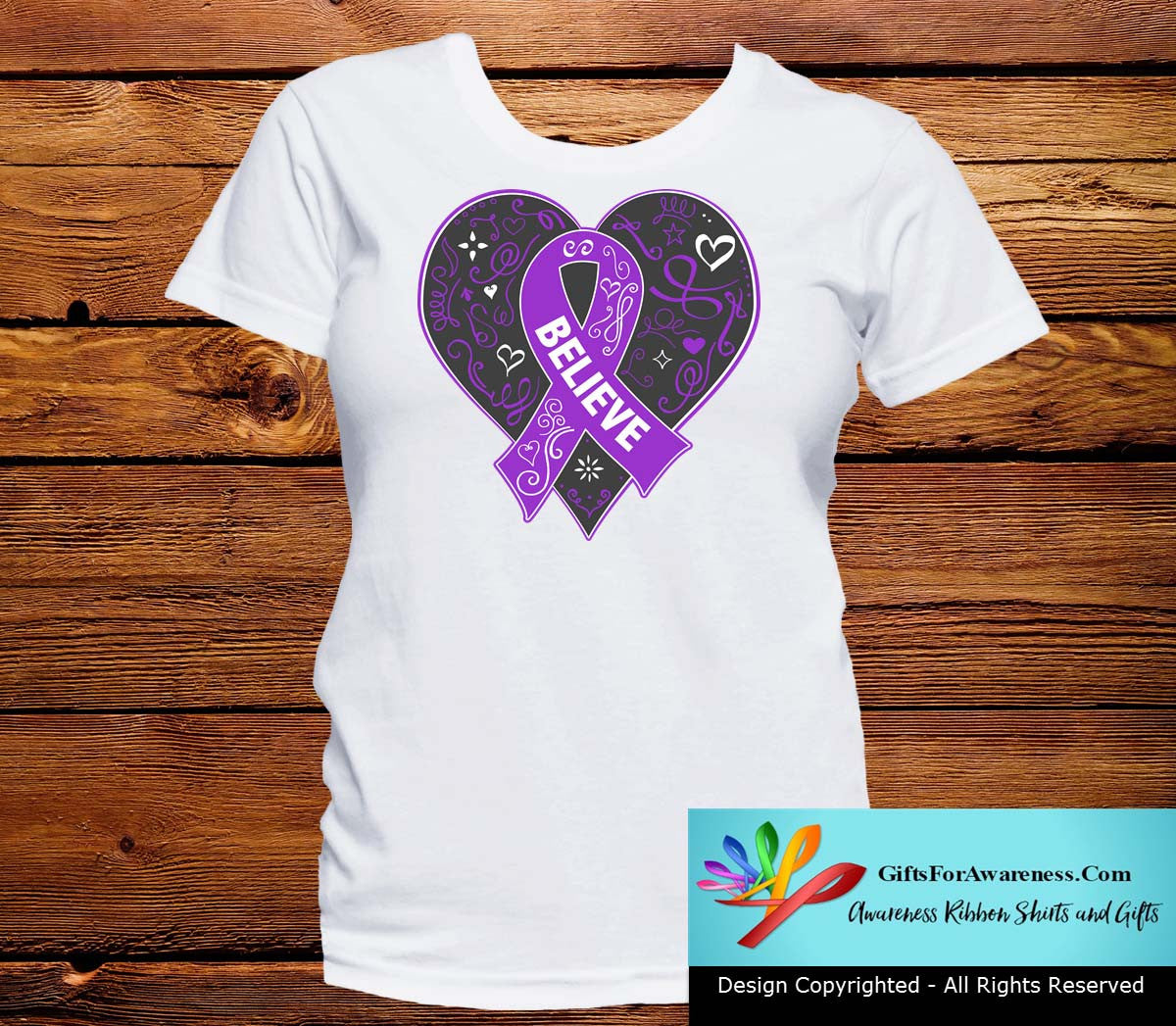 Ulcerative Colitis Believe Heart Ribbon Shirts - GiftsForAwareness