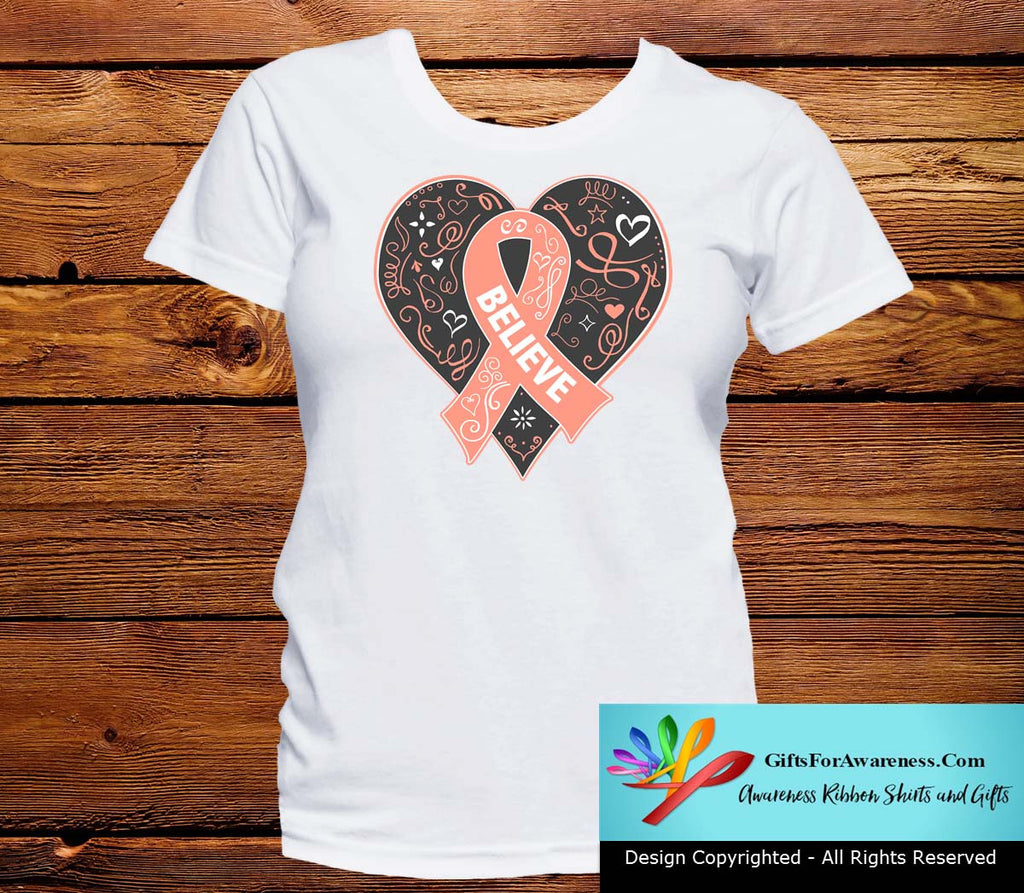 Uterine Cancer Believe Heart Ribbon Shirts