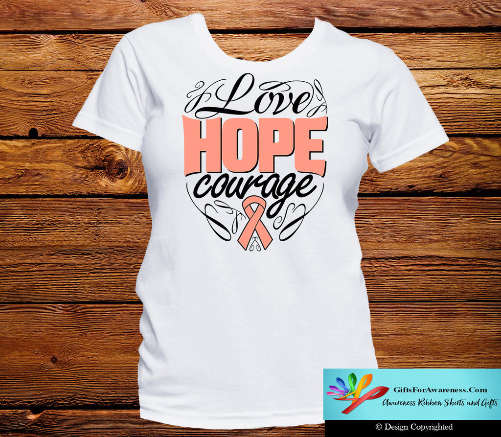 Uterine Cancer Love Hope Courage Shirts