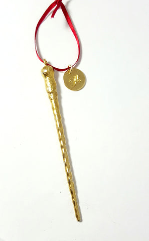 Personalized Golden Ron Wand Ornament