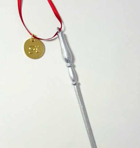 "Personalized ""Silver Patronus"" Luna Wand Ornament"