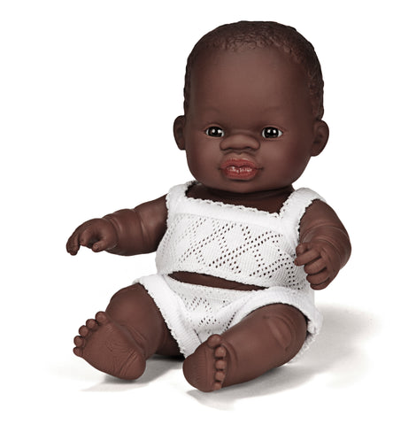 Miniland Anatomically Correct Baby Doll, African Boy, 21cm