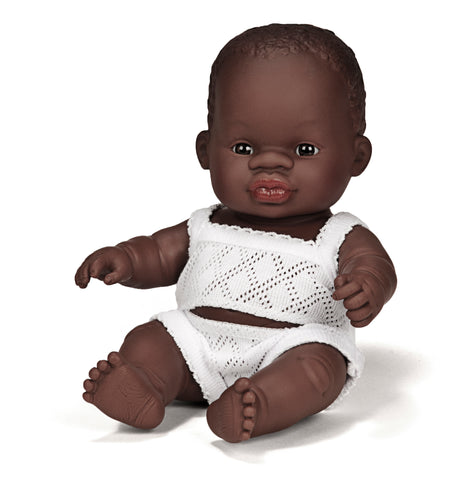 Miniland Anatomically Correct Baby Doll, African Girl, 21cm